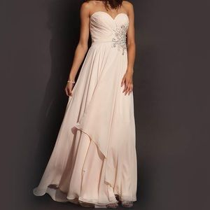 Jovani Strapless Elegant Evening Gown Blush
